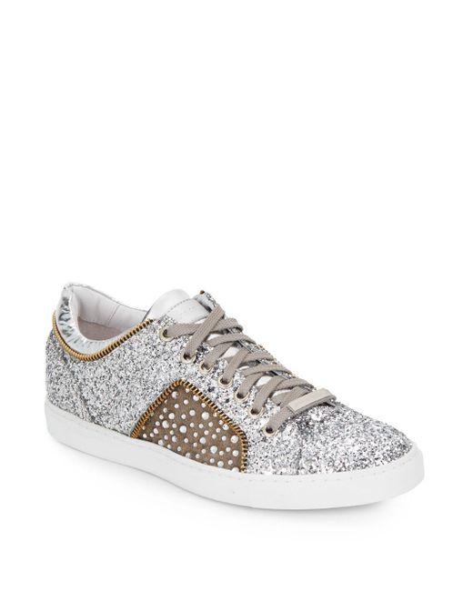Alessandro Dell'acqua - Metallic Alessandro Dell''acqua Glitter Leather Lace-up Sneaker - Lyst