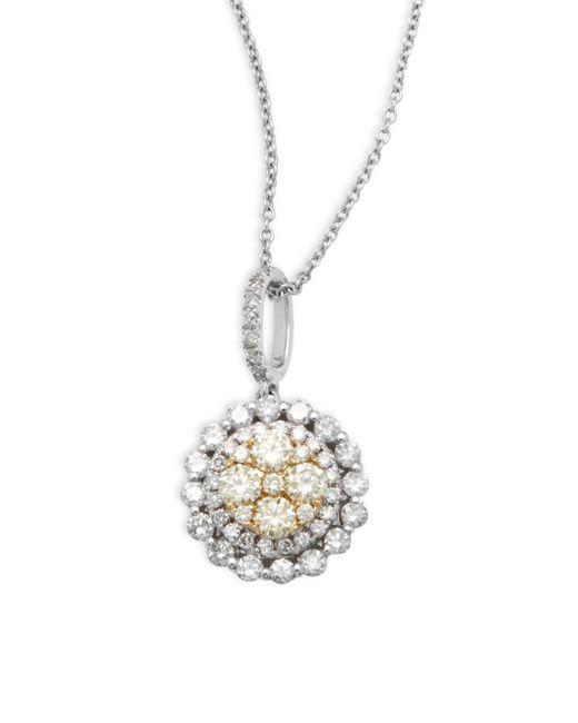 Effy | White, Yellow Diamond & 14k White Gold Pendant Necklace | Lyst