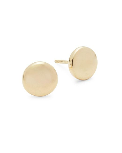 Saks Fifth Avenue - Metallic 14k Yellow Gold Flat Earrings - Lyst