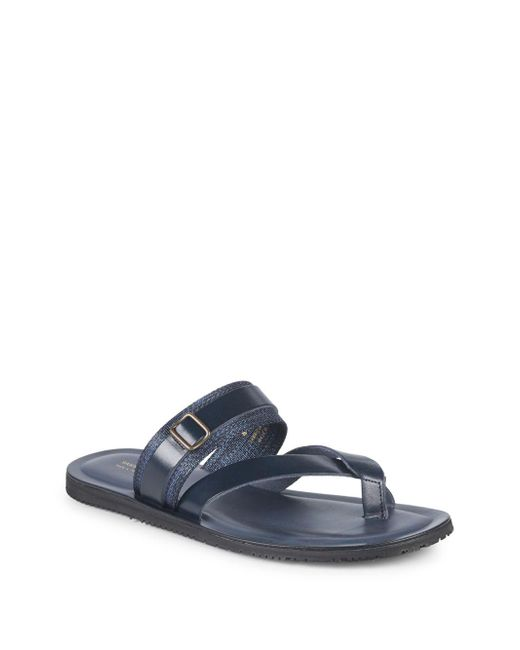 Saks Fifth Avenue - Blue Two-band Leather Thong Sandals - Lyst