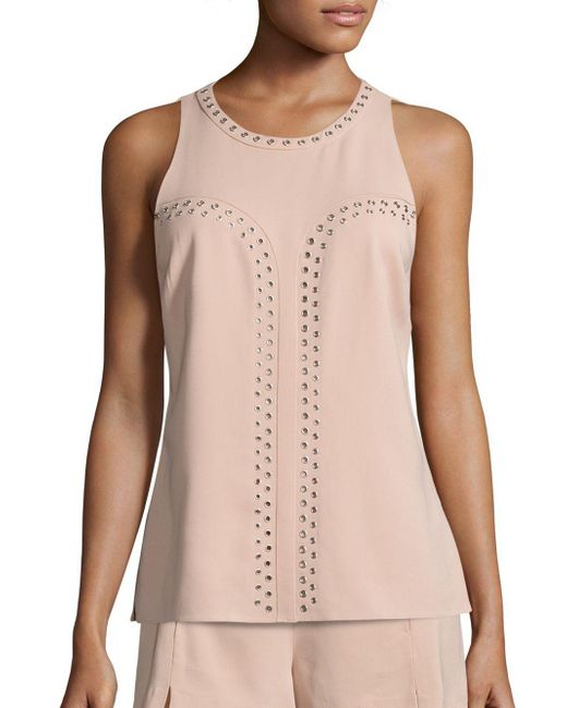 Ramy Brook | Pink Tia Stretch Crepe Grommet Top | Lyst