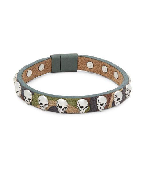 Tateossian - Green Camouflage Leather Bracelet - Lyst