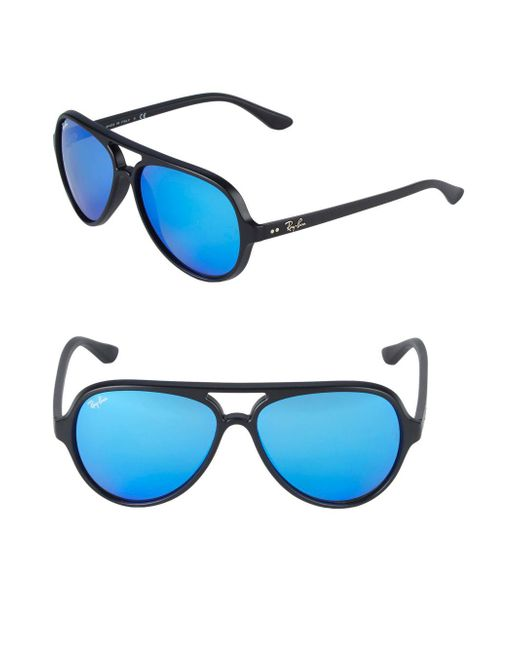 9d6ac38346 Ray-Ban 59mm Cats 5000 Mirrored Sunglasses in Blue for Men - Lyst