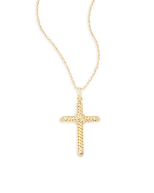 Saks Fifth Avenue   Metallic 14k Yellow Gold Cross Pendant Necklace   Lyst