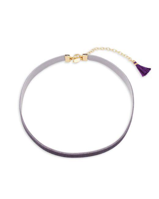 Shashi - Purple Velvet Tassel-accented Choker - Lyst