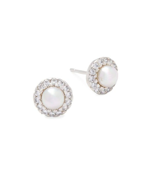 Majorica - 5mm White Pearl & Sterling Silver Halo Stud Earrings - Lyst
