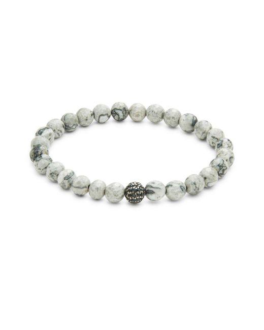 Bavna - Gray Semi Precious Bracelet - Lyst