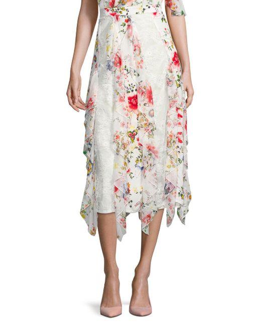 Alice + Olivia White Yula Silk-blend Midi Skirt