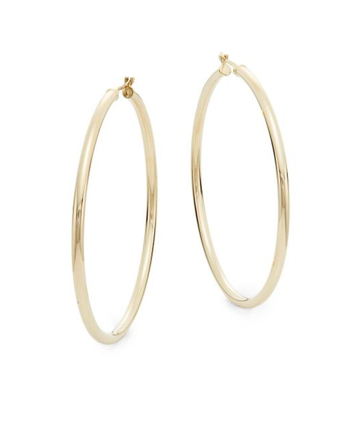 "Saks Fifth Avenue - Metallic 14k Yellow Gold Hoop Earrings/2"" - Lyst"