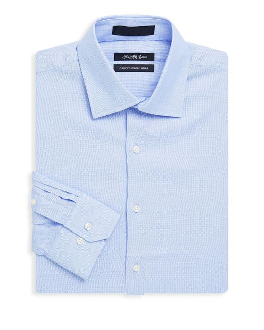 Saks Fifth Avenue - Blue Classic-fit Textured Dress Shirt for Men - Lyst