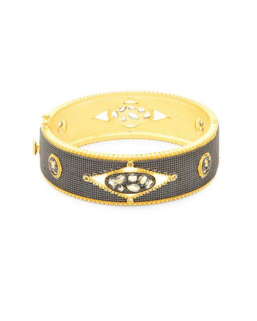 Freida Rothman - Metallic Crystal And Sterling Silver Hinged Bracelet - Lyst