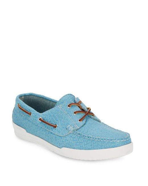 Eastland - Blue Textured Leather Boat Shoes for Men - Lyst