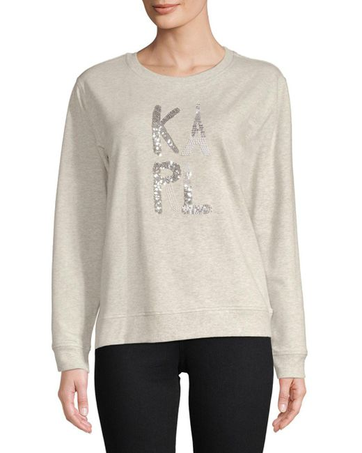 Karl Lagerfeld - Gray Embellished Logo Crewneck - Lyst