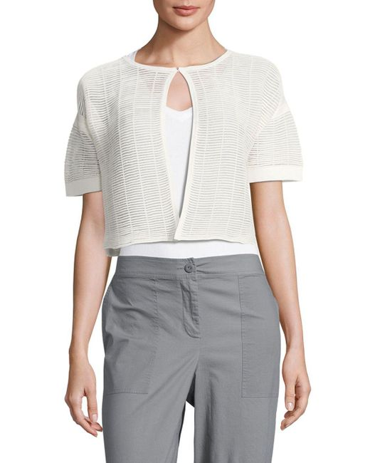 Lafayette 148 New York - Gray Shadow Striped Cropped Top - Lyst