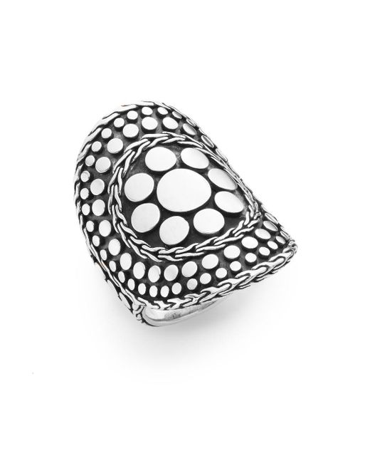 John Hardy - Metallic Dot Nuansa Curved Sterling Silver Ring - Lyst