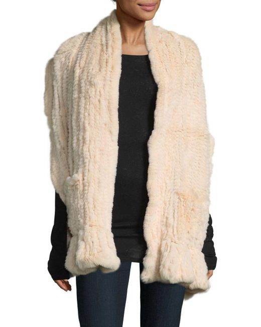Belle Fare - Natural Knitted Dyed Rex Rabbit Scarf - Lyst