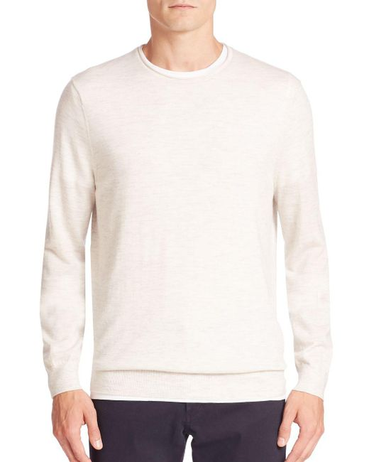 Vince - White Heathered Wool & Cashmere Blend Sweater for Men - Lyst
