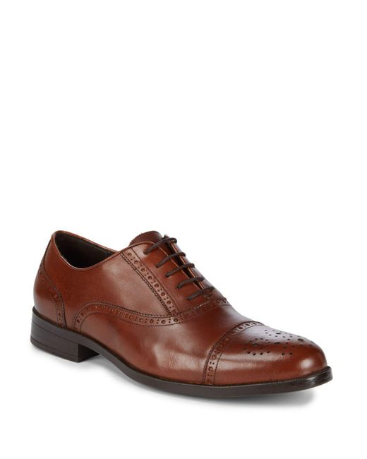 Saks Fifth Avenue - Brown Leather Peforated Dress Shoes for Men - Lyst