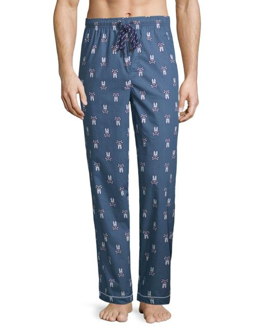 Psycho Bunny - Blue Printed Woven Cotton Pajama Pants for Men - Lyst