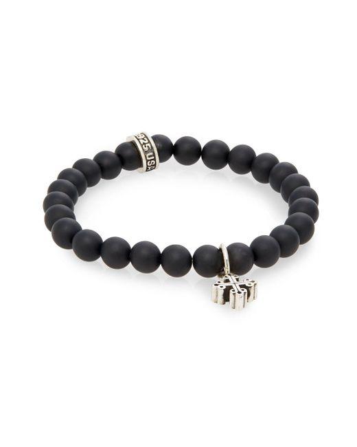 King Baby Studio | Metallic Onyx Beaded & Sterling Silver Cross Bracelet | Lyst