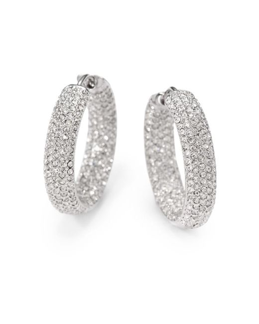 "Adriana Orsini - Metallic Pavà Crystal Rhodium-plated Inside-outside Hoop Earrings/0.75"" - Lyst"