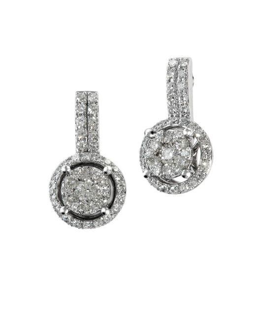 Effy - Metallic Diamond And 14k White Gold Drop Earrings, 0.54 Tcw - Lyst