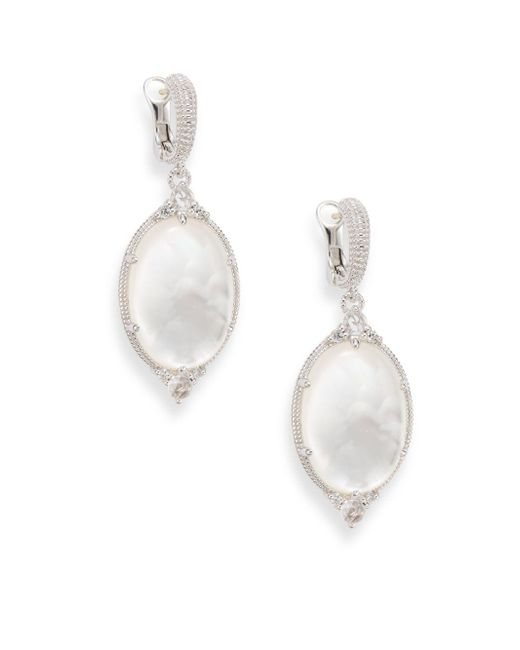 Judith Ripka | Metallic Allure White Sapphire, Rock Crystal, Mother-of-pearl & Sterling Silver Oval Drop Earrings | Lyst