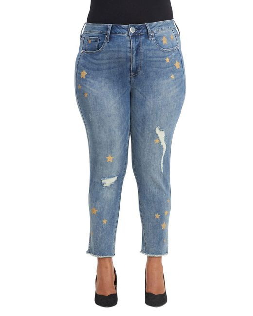 Seven7 - Blue Plus Distressed Star High-rise Jeans - Lyst