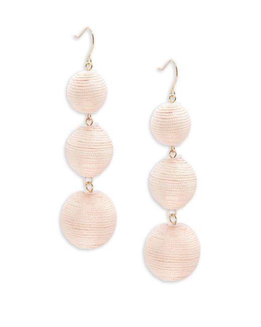 Gemma Simone - Pink Multicolor Triple Drop Pom-pom Earrings - Lyst