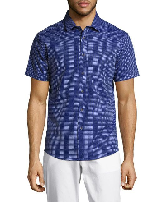 Vince Camuto | Blue Pindot Printed Cotton Shirt for Men | Lyst