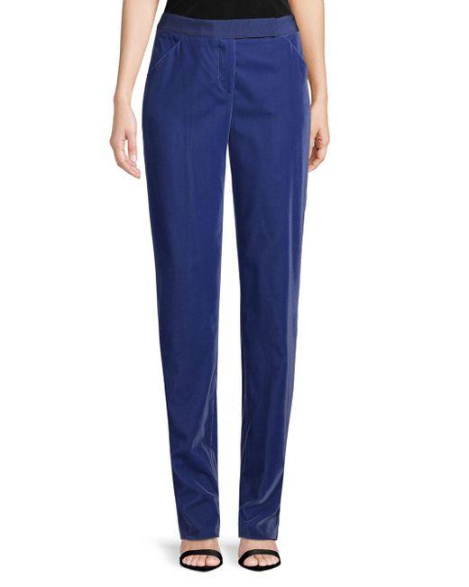 Giorgio Armani - Blue Velvet Slim Flat Pants - Lyst