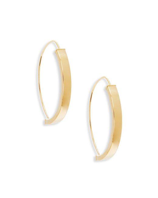 """Saks Fifth Avenue - Metallic 14k Yellow Gold Hoop Earrings/1"""" - Lyst"""