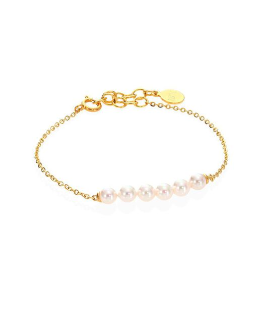 Majorica - Metallic Minimal 5mm White Pearl Bracelet - Lyst