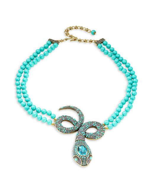 Heidi Daus - Blue Crystal Snake Statement Necklace - Lyst