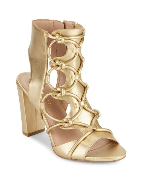 BCBGeneration - Fay Metallic Lace-up Sandals - Lyst
