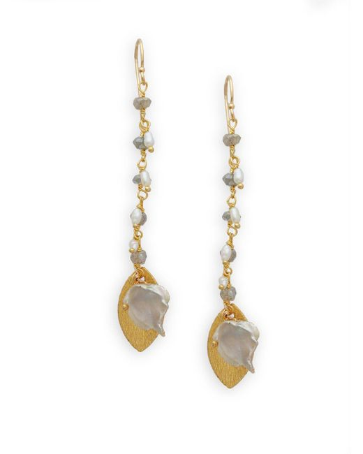 Alanna Bess - Metallic 3.18mm Freshwater Pearl And Labradorite Drop Earrings - Lyst