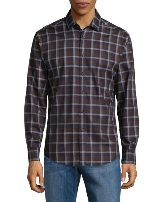 Vince Camuto | Brown Two-toned Button-down Shirt for Men | Lyst
