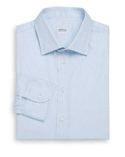 Armani | Blue Modern-fit Cotton Dress Shirt for Men | Lyst