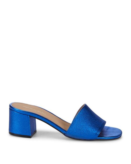 25e7a578c0e7 Lyst - Saks Fifth Avenue Metallic Block Heel Leather Sandals in Blue ...