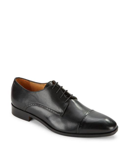 Saks Fifth Avenue - Black Leather Cap Toe Dress Shoes for Men - Lyst