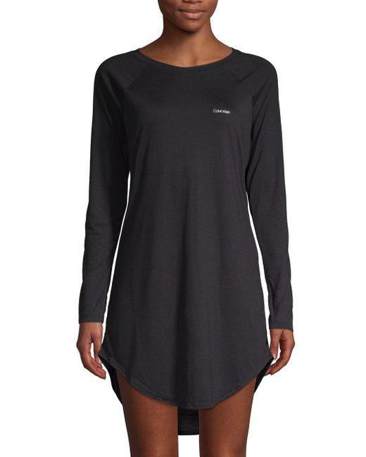Calvin Klein - Black Raglan-sleeve Sleepshirt - Lyst