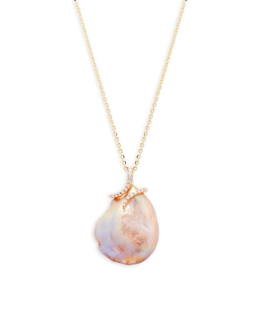 Tara Pearls - 20mm Pink Baroque Pearl, Diamond And 14k Yellow Gold Pendant Necklace - Lyst