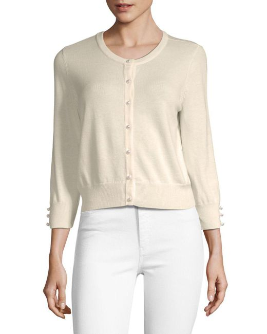 Karl Lagerfeld - White Lace Button-front Cardigan - Lyst