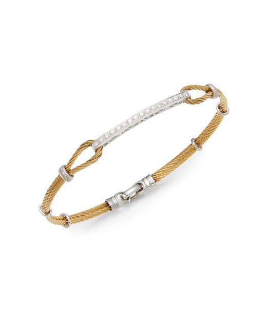 Alor - Metallic Diamond, 18k Yellow Gold & Steel Bracelet - Lyst