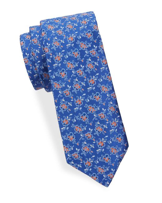 Saks Fifth Avenue - Blue Floral Silk Tie for Men - Lyst