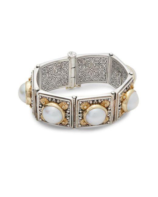 Konstantino - Metallic Aphrodite Freshwater Pearl, 18k Yellow Gold & Sterling Silver Slide Bracelet - Lyst