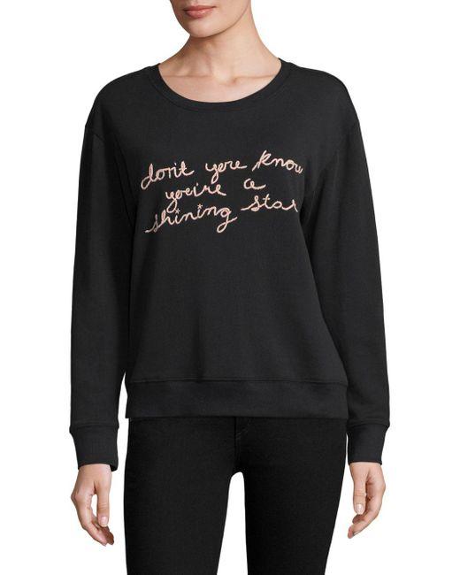 Joie - Black Cotton Embroidered Sweatshirt - Lyst