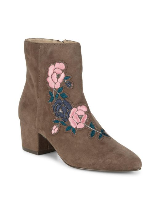 Steven by Steve Madden - Gray Brooker Suede Embroidered Ankle Boots - Lyst