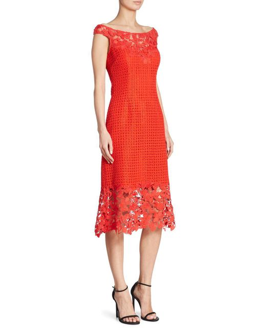 Kay Unger - Red Boat Neck Floral Lace Sheath Dress - Lyst