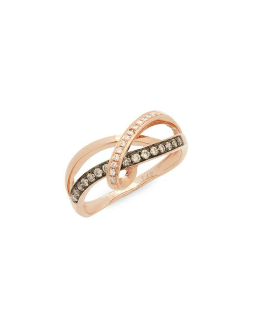 Le Vian - Metallic Chocolatier® 14k Strawberry Gold®, Vanilla Diamond® & Chocolate Diamond® Ring - Lyst